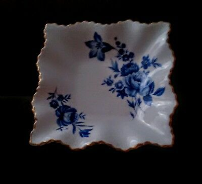 """Old Foley James Kent Stafforshire England 5"""" square scalloped dish Blue Flowers"""
