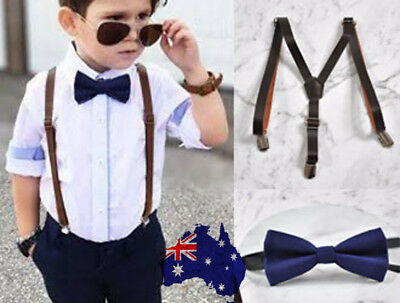 Kids Boys Navy Blue Bow tie Dark Brown Leather Suspenders Braces Wedding Set