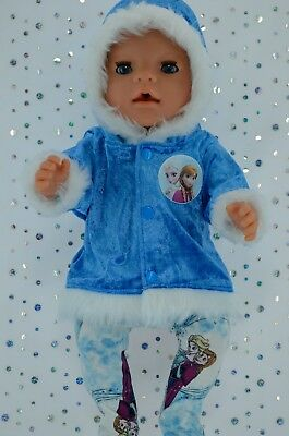 "Play n Wear Doll Clothes To Fit 17"" Baby Born  ROYAL BLUE VELVET JACKET~TIGHTS"