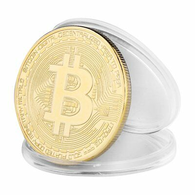 5PCS 40mm 24K Gold Plated Physical Bitcoins Casascius Bit Coin BTC with Case