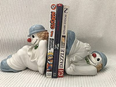 "Rare Vintage Collectible Fitz & Floyd Clown Bookends 1979 Hand Painted 6"" Tall *"