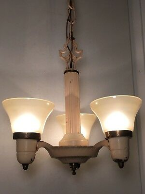 Antique Art Deco Chandelier 1920s Vaseline Glass Slip Shades VTG 3 Light Fixture