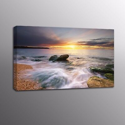 Large Canvas Print Sunset Rise Ocean Painting Picture Wall Art Home Decor Poster