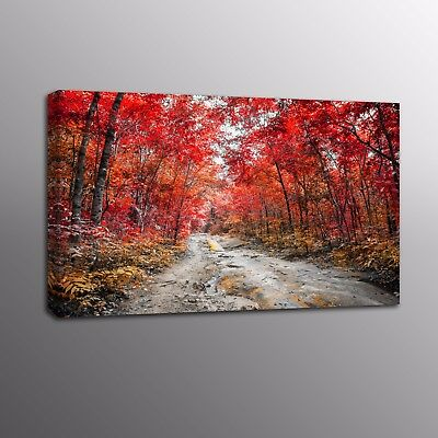 Landscape Red Forest Wall Art Canvas Prints Poster for Home Decor Painting Photo