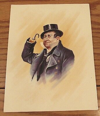 """Antique Victorian hand painted tile Charles Dickens Captain Cuttle 7""""x9"""""""
