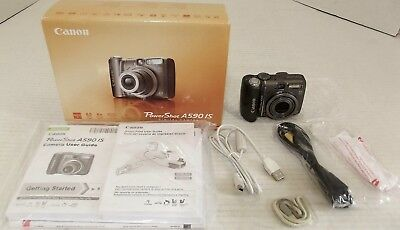 Canon PowerShot A590 IS 8.0MP Digital Camera - Gray - with Box, Manuals, 2GB SD