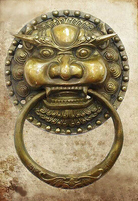 "Large Chinese Bronze Foo Dog Foo Lion Door Knocker 11""H"