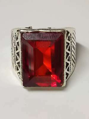 Chinese Exquisite Silver Handwork Inlaid Ruby Fashion Ring