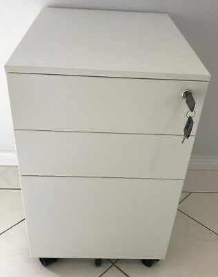 Markant White Office Pedestal 3 Drawer Filing Storage Cabinet Metal With KEYS