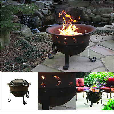"""Outdoor Cast Iron Fire Ring Bowl Camping Campfire Pit Firepit W' Cover, Di 29"""""""