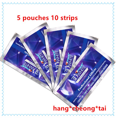 Crest3D Teeth Whitening 5 Pouches 10 Strips Made in USA