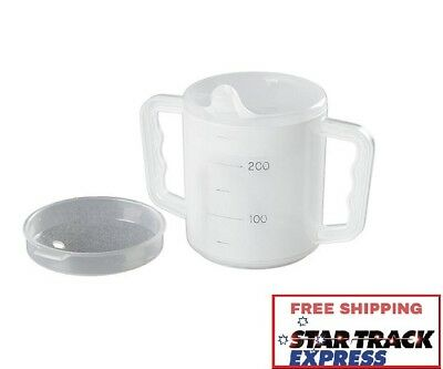 Two Handled Sippy Drinking Mug Cup w/ Lids (Pack of 2) -For Elderly Disabled Aid