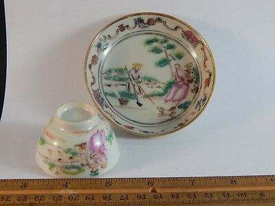 Adorable Antique Chinese Export Childs Cup Saucer Ex Sharpe Collection c 1745