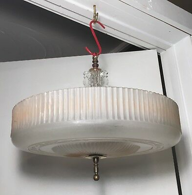 Vtg 1930s Markel Ceiling Light Fixture Antique Art Deco Chandelier Custard Shade