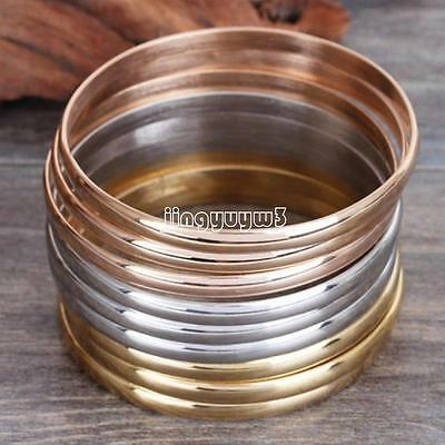 9 Pcs Women's Gold Silver Rose Gold Bracelets Set Stainless Steel Bangle Jewelry