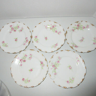 """5 JPL Limoges 6"""" Plates Jean Pouyat France Gold Hand Painted Pink Roses Antique"""