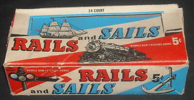 Scarce 1955 TOPPS RAILS and SAILS Empty 5 Cent WAX PACK DISPLAY BOX