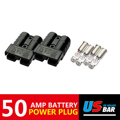 50A 2x Protecting Jumper Booster Cables Battery Charger Plug Black Quick Connect