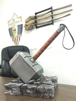 METAL MADE Avengers 1:1 Replica Alloy Metal Thor Hammer Cosplay Props+Resin Base