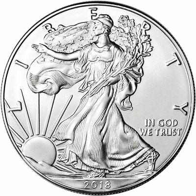 2018 SILVER AMERICAN EAGLE - 1 ounce .999 FINE - BU - ONE DOLLAR COIN