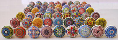 Colorful Mixed Vintage Ceramic Drawers Knobs Door Cupboard Pulls Kitchen Knob