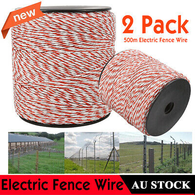 2X500m Stainless Steel Roll Polywire Electric Fence Fencing Poly Wire AU