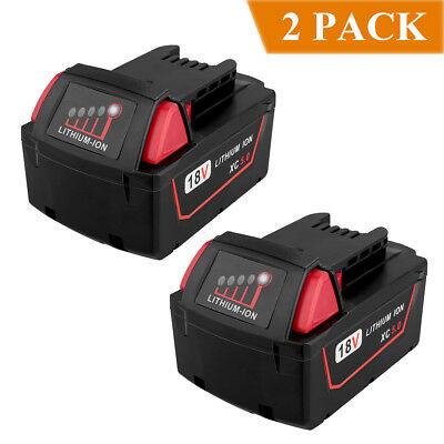 2-Pack New 18V 5.0Ah M18B5 Battery for Milwaukee Red Lithium Ion XC Battery Tool