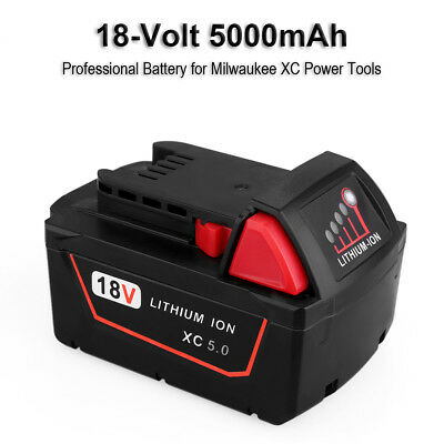 New 18V 5.0Ah M18 M18B5 Battery for Milwaukee Red Lithium Ion XC Battery Tool