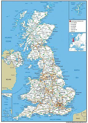 LARGE PAPER LAMINATED UK Road Wall Map A GA Size X Mm - Large wall map of uk