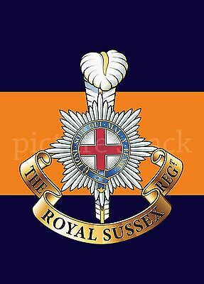 2ND ROYAL TANK REGIMENT CAP BADGE PRINTED ON A METAL SIGN 5 x 7 INCHES.