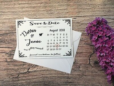 Personalised Wedding Save The Date Cards + Magnet + Envelopes Day Diamante F51A7