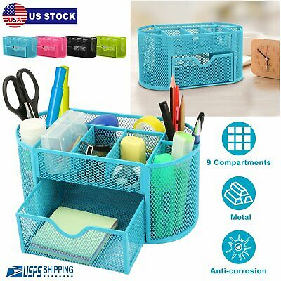 Desk Organizer Metal Mesh Office Pen Pencil Holder Storage Desktop Tray Blue