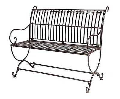 XXL FRENCH DESIGN classical black  garden bench outdoor wrought iron  QUALITY