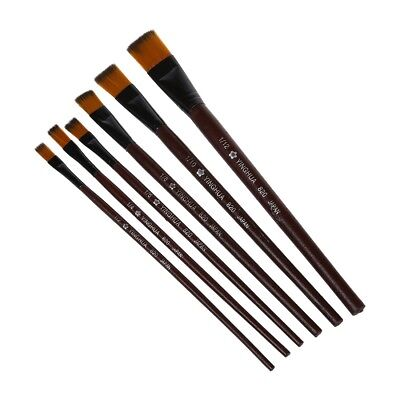 Pack of 6 Art Brown Nylon Paint Brushes for Acrylic SS