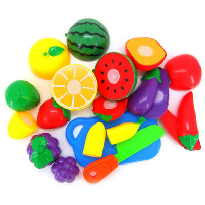 Cute Kids Pretend Role Play Kitchen Fruit Vegetable Toys Cutting Gift