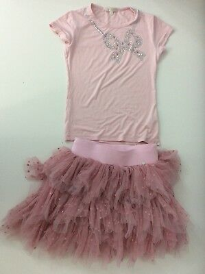 Miss Grant Skirt & Top Outfit Set Age 9/10 Years Size 36 Pink Ruffle Stones