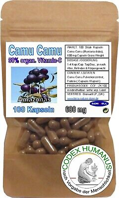 100 Kapseln 600 mg Camu Camu. 50 % organ. Vitamin C SUPERFOOD ORAC OPC POTENTIAL