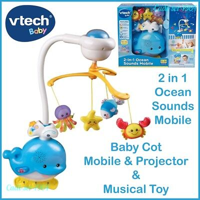 NEW Vtech 2-in-1 Ocean Sounds Whale Baby Cot Mobile Baby Toy Lights Musical