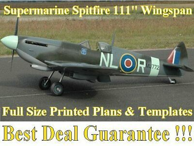 """Supermarine Spitfire 111"""" Wing Span Full Size Printed Plans & Templates"""