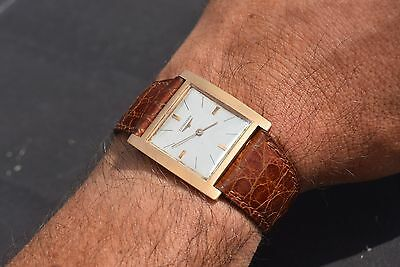 Rare Longines Conquest Square 7756 Solid Yellow Gold 18K Vintage Watch 31X33Mm
