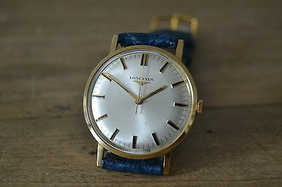 men's LONGINES CAL.284 VINTAGE 18K YELLOW GOLD WATCH UHR CENTRAL SECONDS, 34mm!