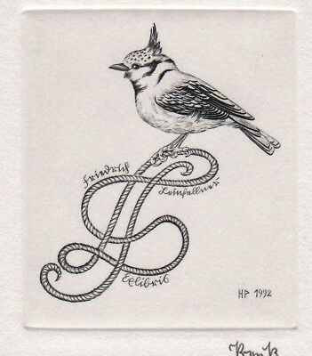 Heinrich PREUSS Vogel Exlibris Tufted Tit Bird Copper Engraving C2  signed 1992
