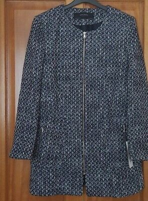 ZARA Blue & White Tweed Fitted Frock Coat Jacket Blazer BNWT SIZE L