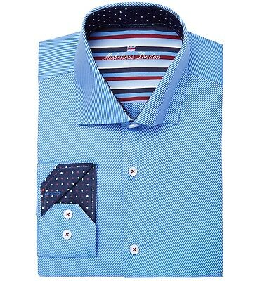 $278 MICHELSONS LONDON Men SLIM-FIT BLUE LONG-SLEEVE BUTTON COTTON DRESS SHIRT L