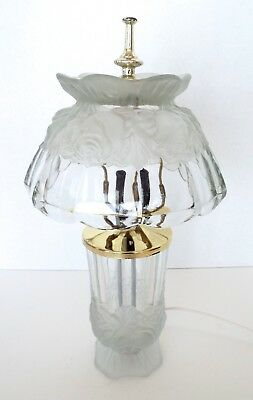 """Vintage Clear & Frosted Glass Lamp Shade Rose Design 14"""" Art Nouveau Victorian"""
