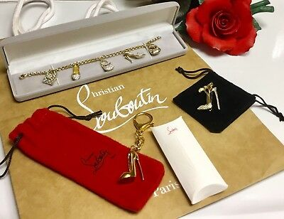CLEARANCE Christian Louboutin Red Bottom Bag Charm & YG Crystal Diva Bracelet