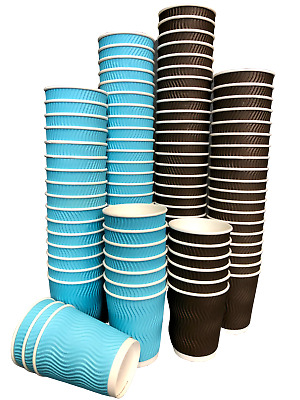 Paper Cups Disposable Paper Coffee Cups Ripple Cups 8oz For Hot Drinks With Lids