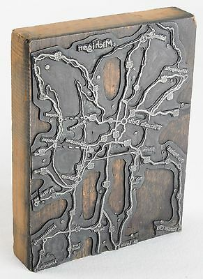Vintage PRINTING Plate On WOODEN Block MAP Wisconsin Dells WI Press Letterpress