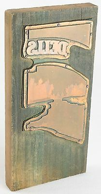 Vintage Copper PRINTING Plate WOODEN Block WISCONSIN Dells WI Press Letterpress