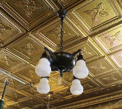 """Restored Victorian 4 Light Pan Fixture Chandelier 2.25"""" Shades Ready to Hang"""